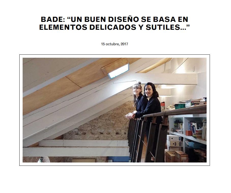 entrevista de kunsthal a Bade interiorismo 2017